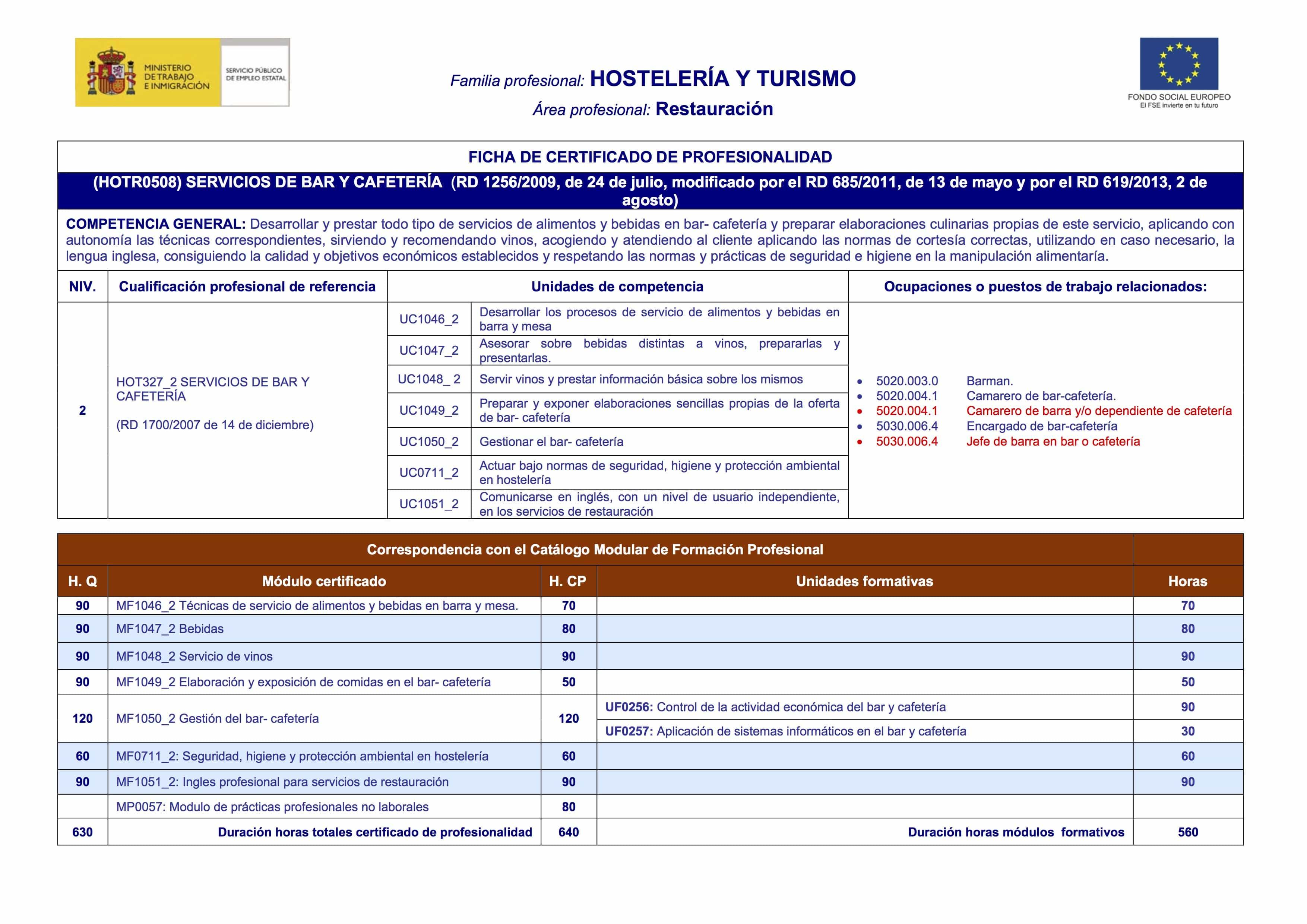 certificado profesionalidad servicios bar cafetería